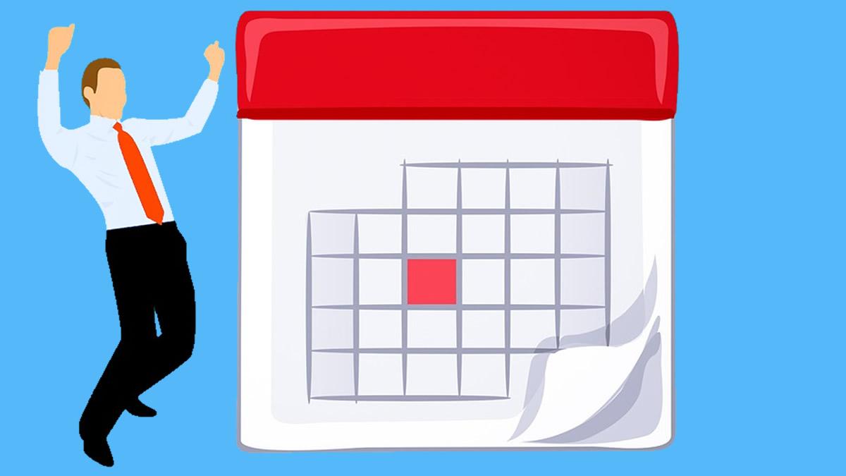 カレンダーを見て喜ぶ人